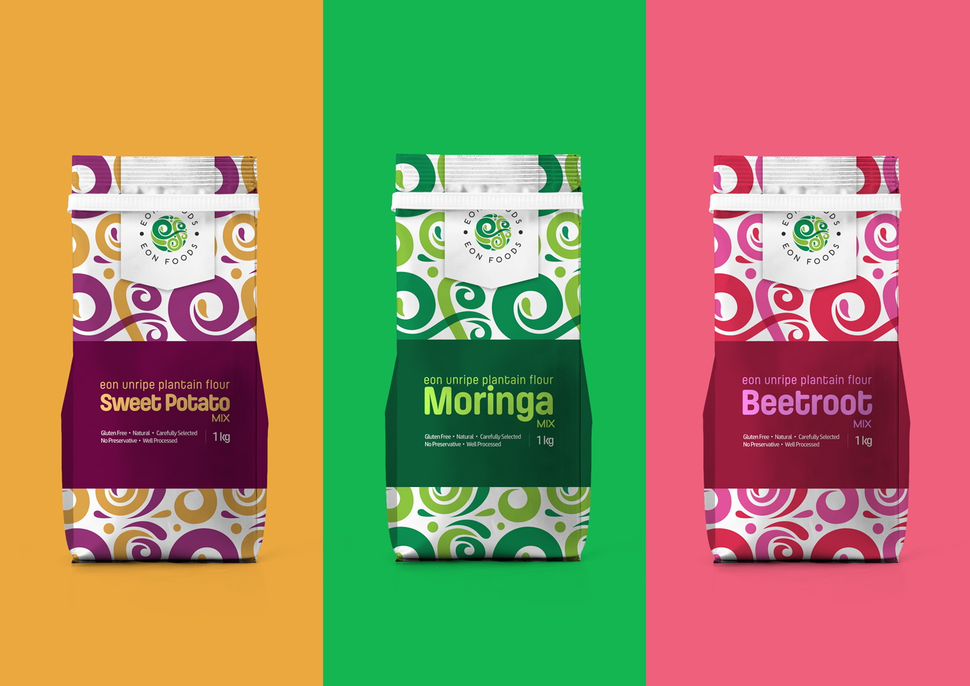 EON Foods Packaging - 3 Variants on Coloured Backgrounds