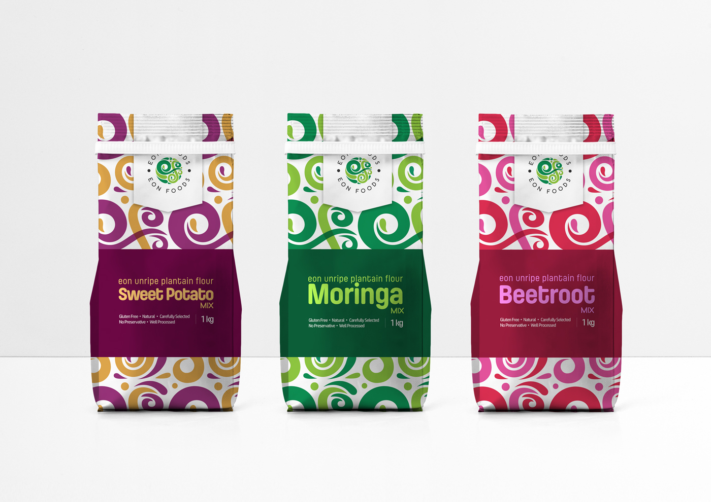 EON Foods Packaging - 3 Variants on White Background